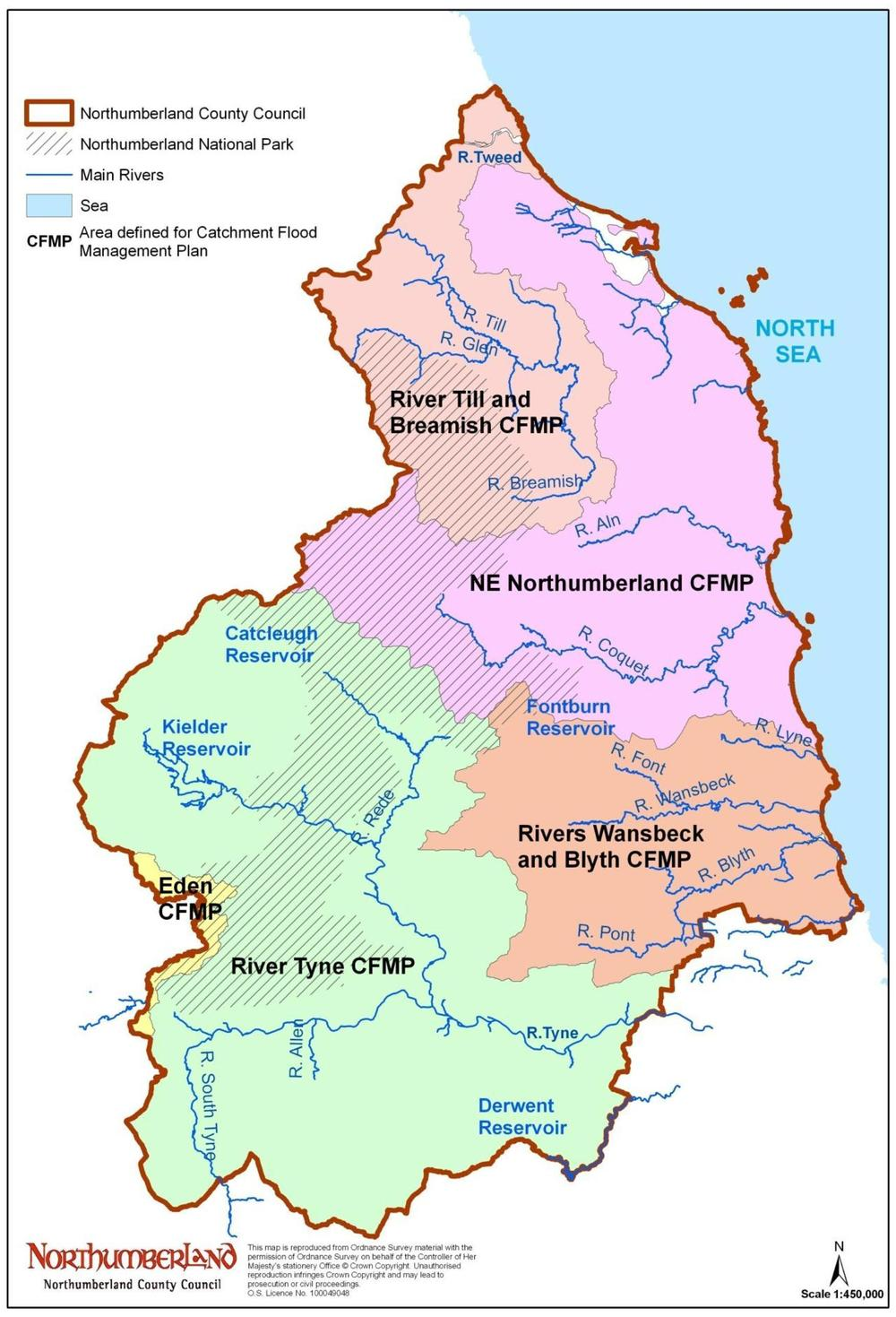 Map Of Northumberland North  Best İmages